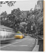 Yellow Cabs In Central Park, New York 3 Wood Print