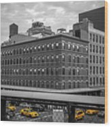 Yellow Cabs In Chelsea, New York 3 Wood Print