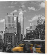 Yellow Cabs In Midtown Manhattan, New York Wood Print