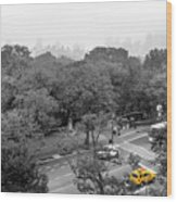 Yellow Cabs Near Central Park, New York Wood Print