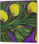Yellow Calalilies Wood Print