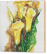 Yellow Callas Wood Print