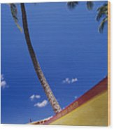 Yellow Canoe On Beach Wood Print