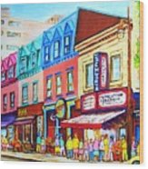 Yellow Car At The Smoked Meat Lineup Wood Print