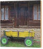 Yellow Cart And Green Wheels  Wood Print