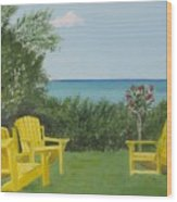Yellow Chairs At Blue Mountain Beach Wood Print