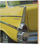 Yellow Chevrolet Tail Fin Wood Print
