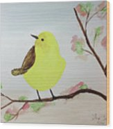 Yellow Chickadee On A Branch Wood Print