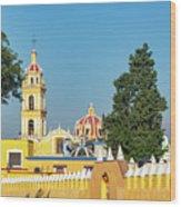 Yellow Church In Cholula, Mexico Wood Print