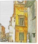 Yellow Clock Tower Wood Print