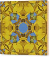 Yellow Coneflower Kaleidoscope Wood Print
