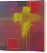 Yellow Cross Wood Print