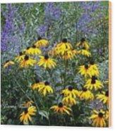 Yellow Daisies And Purple Sage Wood Print
