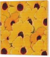 Yellow Daisy Flowers Wood Print