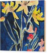 Yellow Daylilies Wood Print