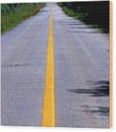 Yellow Dividing Line Marking An Empty Road Between Uxmal And Kabah Wood Print by Sami Sarkis