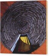 Yellow Door In The Round Wood Print