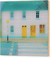 Yellow Doors Wood Print