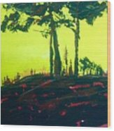 Yellow Dusk Wood Print