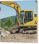 Yellow Excavator In Anacortes Wood Print