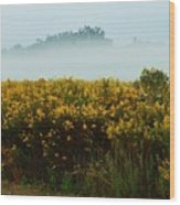 Yellow Field And The Fog Wood Print