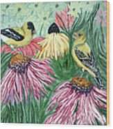 Yellow Finches Wood Print
