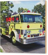 Yellow Fire Truck Wood Print