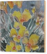 Yellow Flowers At Arboretum Wood Print