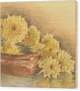 Yellow Flowers With Still Life Wood Print