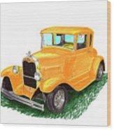 1932 Yellow Ford Hot Rod Coupe Wood Print