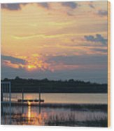 Yellow Gold Sunset Tapestry Wood Print