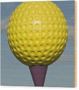 Yellow Golf Ball Wood Print