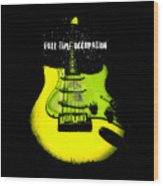 Yellow Guitar Full Time Occupation Wood Print