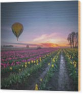 Yellow Hot Air Balloon Over Tulip Field In The Morning Tranquili Wood Print