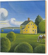 Yellow House Wood Print