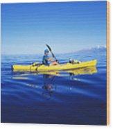 Yellow Kayak Wood Print
