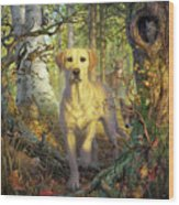 Yellow Lab In Fall Wood Print