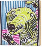 Yellow Lab Wood Print by Robert Wolverton Jr