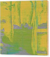 Yellow Ladders Wood Print