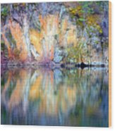 Yellow Lake Abstract Wood Print