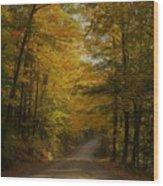 Yellow Leaves Road Wood Print