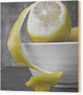 Yellow Lemons Wood Print