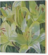 Yellow Lilies With Buds Wood Print by Sharon Freeman