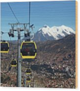 Yellow Line Cable Cars And Mt Illimani La Paz Bolivia Wood Print