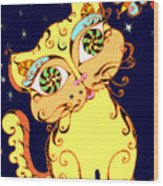 Yellow Loopy Cat Wood Print