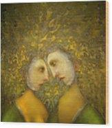 Yellow Lovers Wood Print