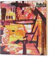 Yellow Maroon And Brown Abstract Wood Print