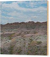 Yellow Mounds Panorama At Badlands South Dakota Wood Print