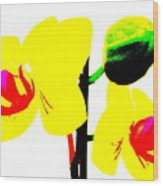 Yellow Orchids Abstract Wood Print