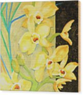 Yellow Orchids With Black Screen Wood Print